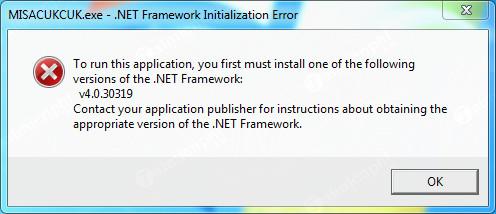 lỗi thiếu .net framework