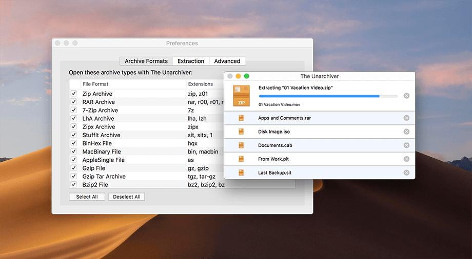 giải nén file zip trên mac